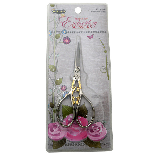 Sullivans Silver and Gold Teardrop Handle Heirloom Embroidery Scissors