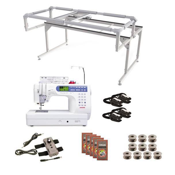 Janome MC6500P (Refurbished) Grace Q-Zone Hoop Frame with Speed Control Machine Quilting Combo 8