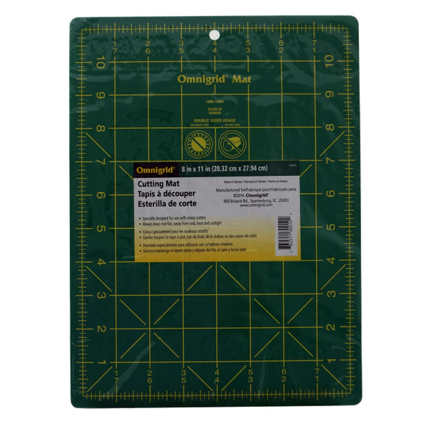 Omnigrid Cutting Mat - Green with Yellow Grid 8-3/4in x 11-3/4in