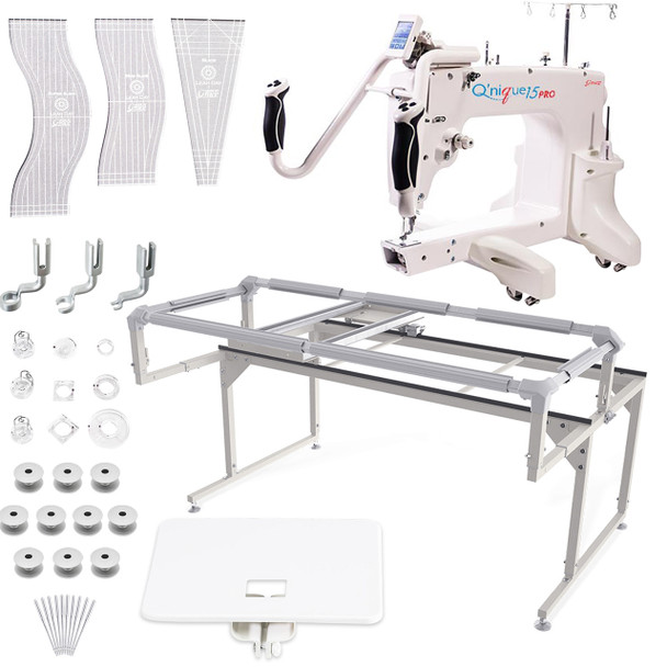 Grace Q'nique 15 Pro Midarm Quilting Machine with Q-Zone Hoop Frame with Bonuspack