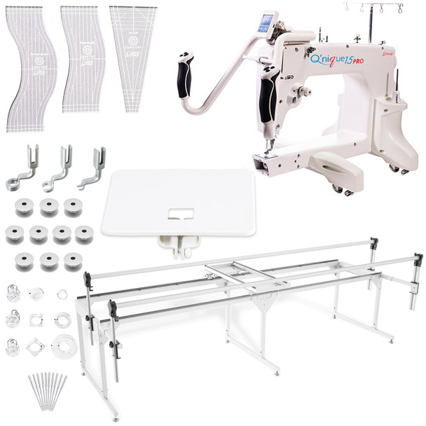 Grace Q'nique 15 Pro Midarm Quilting Machine with Q-Zone Queen Frame with Bonuspack