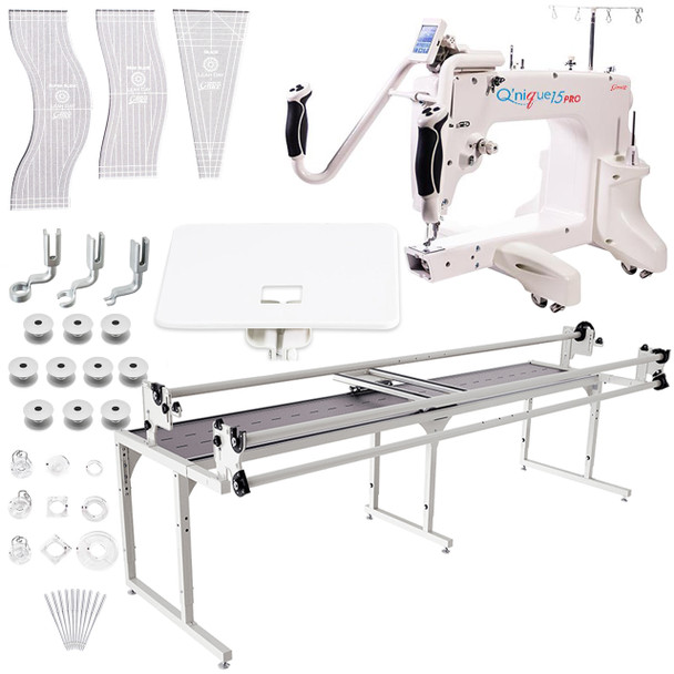 Grace Q'nique 15 Pro Midarm Quilting Machine with Continuum 10' Quilting Frame plus Bonuspack