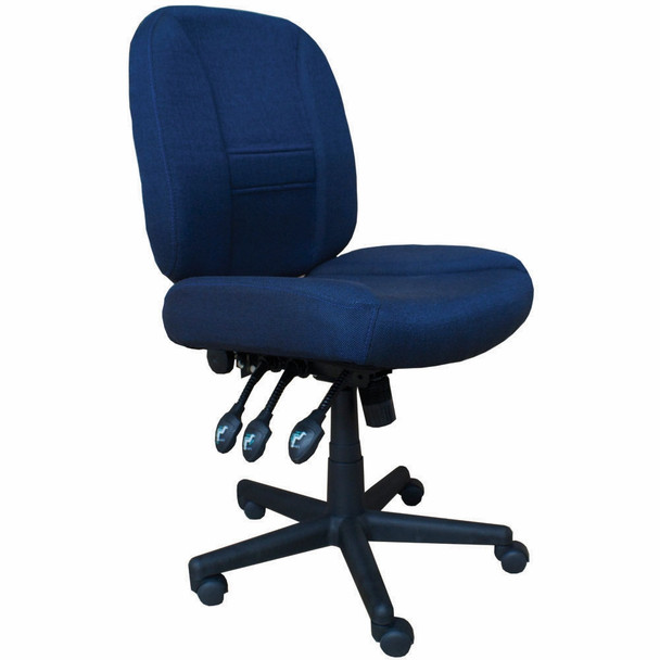 Horn of America 17090 Deluxe 6 Way Adjustable Chair in Navy with Black Base - 400 Lb Weight Limit