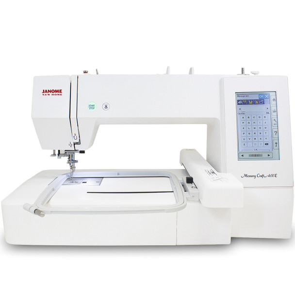 Janome Memory Craft 400E Embroidery Machine (Refurbished) - Front with hoop