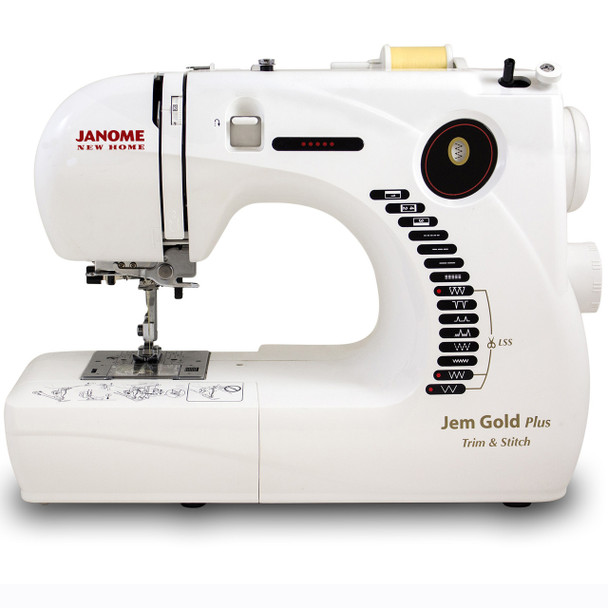 Janome Jem Gold Plus 661G Trim & Stitch Sewing Machine - Front View
