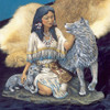 Ceramic Bisque Native American Maiden With Wolf & Pup