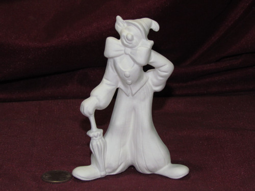Ceramic Bisque U Paint ~ Small Clown with an Umbrella Ready to Paint Unpainted DIY