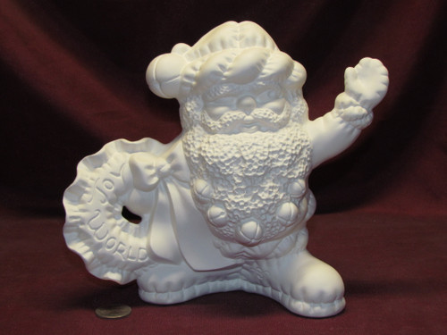 Ceramic Bisque U Paint Softy Santa Claus with Wreath Ready to Paint Christmas
