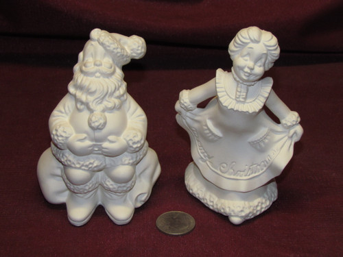Ceramic Bisque U-Paint Small Mr and Mrs Santa Claus Ready to Paint Christmas