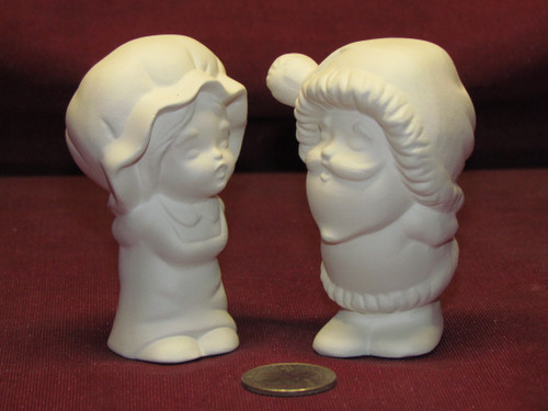 Ceramic Bisque U-Paint Small Kissing Mr and Mrs Santa Claus Ready to Paint Unpainted DIY