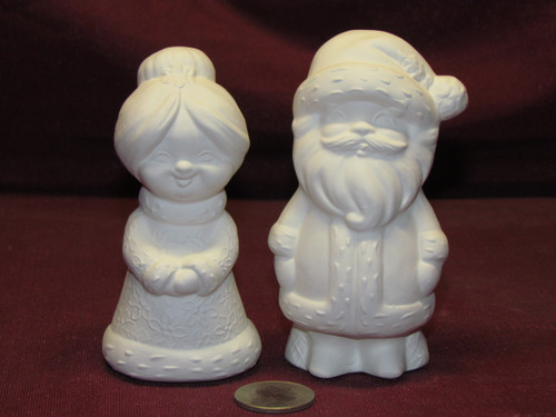 Ceramic Bisque U-Paint Small Mr and Mrs Santa Claus Ready to Paint Unpainted DIY