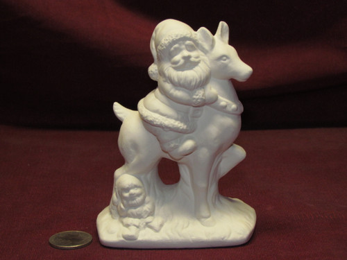 Ceramic Bisque U-Paint Small Santa Claus riding Reindeer Christmas Winter Ready to Paint Unpainted DIY