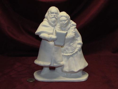 Ceramic Bisque Mr and Mrs Santa Claus Singing Carols U Paint ~ Ready to Paint Unpainted U-Paint DIY Christmas