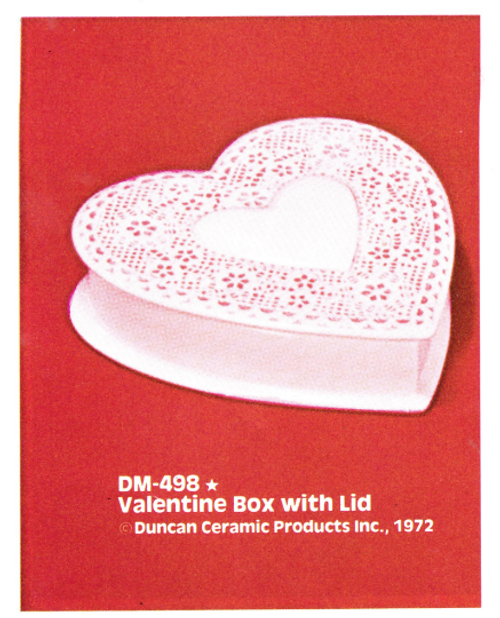 Ceramic Bisque U-Paint Valentine's Heart Box with Lid  Unpainted Ready To Paint