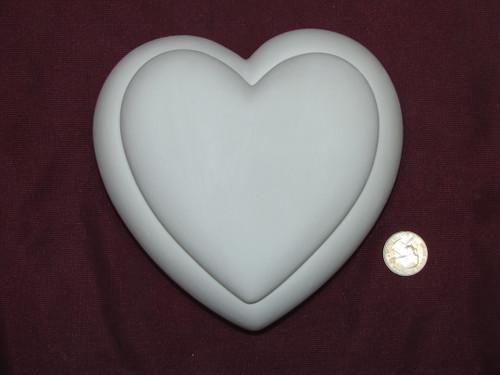 Ceramic Bisque U-Paint Valentine's Plain Heart Box with Lid ~ Ready to Paint Unpainted DIY