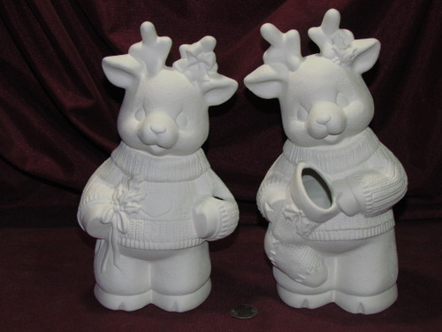 Ceramic Bisque Christmas Reindeer Boy and Girl  unpainted ready to paint diy
