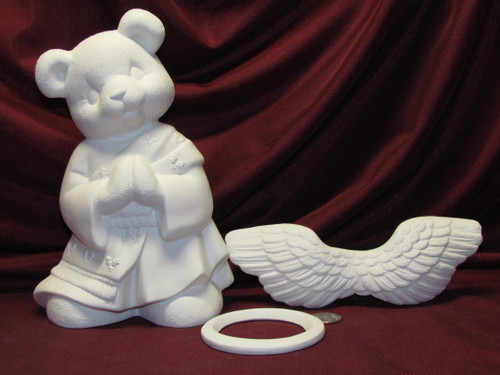 Ceramic Bisque U-Paint Set of  2 Angel Teddy Bear Girl and Boy Unpainted Ready to Paint