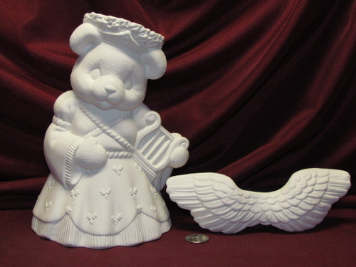 Ceramic Bisque U-Paint Angel Teddy Bear Girl Unpainted Ready to Paint