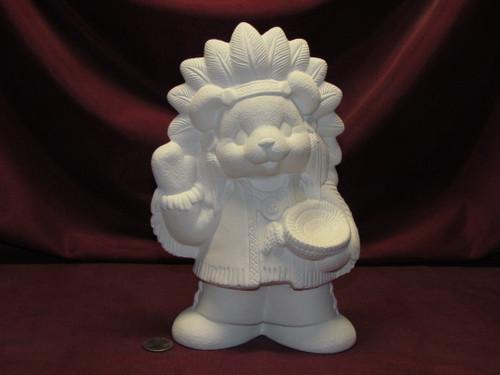 Ceramic Bisque U-Paint Native American Bear ~ Boy Unpainted Ready To Paint Unpainted DIY