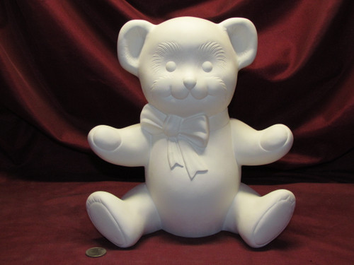 Ceramic Bisque U-Paint Teddy Bear with Bow Ready to Paint DIY Unpainted