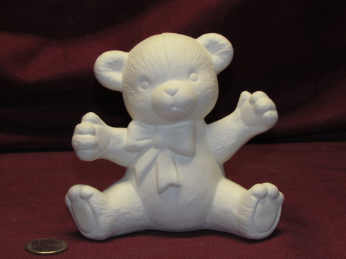 Ceramic Bisque U-Paint Small Teddy Bear with Bow Ready to Paint DIY Unpainted