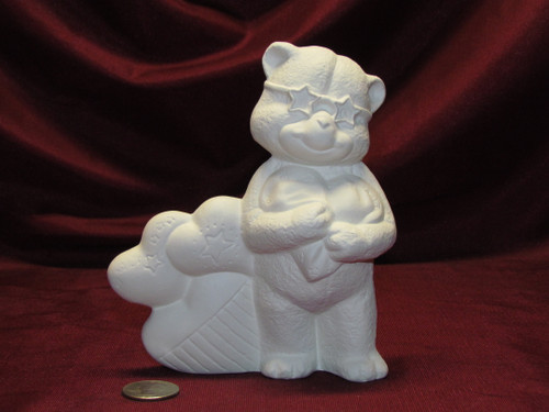 Ceramic Bisque U-Paint Patriotic Teddy Bear with Hearts Ready to Paint Unpainted
