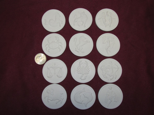 Ceramic Bisque U-Paint Set of 12 Zodiac Astrology Small Flat Round Discs Unpainted Ready To Paint DIY