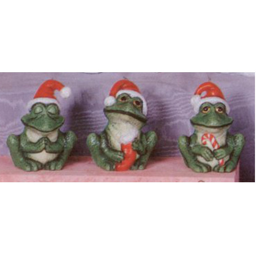 Ceramic Bisque U-Paint 3 Christmas Frogs with Santa Hats Ready to Paint