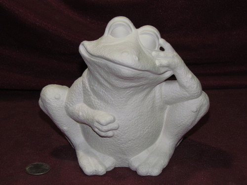Ceramic Bisque U-Paint Goofy Frog Sitting Up Hand on Face Unpainted Ready To Paint DIY Garden Decoration