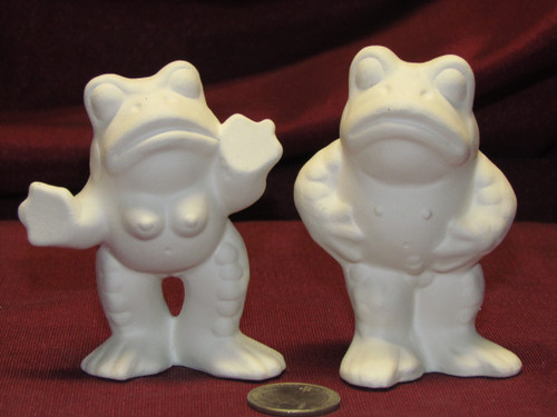 Ceramic Bisque U-Paint Set of 2 Male and Female Mature Naughty Frogs Erotic Anatomically Correct Unpainted Ready To Paint DIY