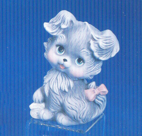 Ceramic Bisque U-Paint Cute Puppy Dog with Bow on Tail and Newspaper ~ Byron ~ Ready to Paint Unpainted DIY