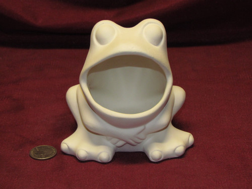 Ceramic Bisque U-Paint Frog Scrubby Holder, Soap Dish or Catch All Ready to Paint Unpainted