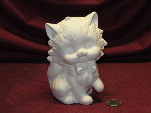 Ceramic Bisque U-Paint Cute Kitty Cat with Bow ~ Kitten Ready to Paint Unpainted DIY