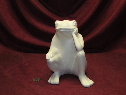 Ceramic Bisque U-Paint Sitting Frog ~ Thinking / Thinker Ready to Paint Unpainted DIY