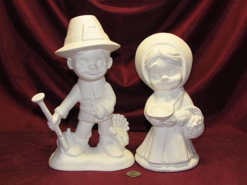Ceramic Bisque U-Paint Smiley Pilgrim Boy and Girl Thanksgiving Ready To Paint Unpainted DIY