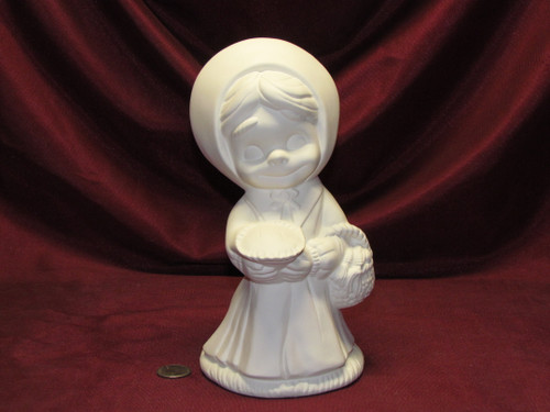 Ceramic Bisque U-Paint Smiley Pilgrim Girl Thanksgiving Ready To Paint Unpainted DIY