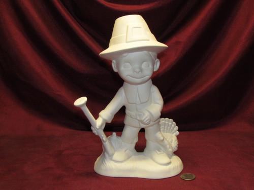Ceramic Bisque U-Paint Smiley Pilgrim Boy Thanksgiving Ready To Paint Unpainted DIY