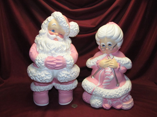 Large Mr & Mrs Santa Claus ~ Pink ~ Hand Painted Ceramic Bisque ~ Ready to Display