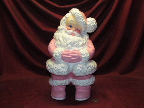 Large Pink Themed Santa Claus ~ Hand Painted Ceramic Bisque ~ Ready to Display
