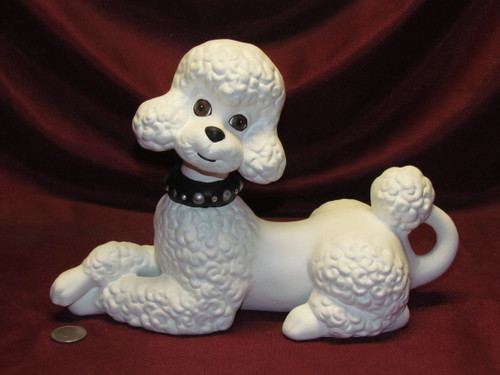 White Poodle ~ Hand Painted Ceramic Bisque ~ Ready to Display