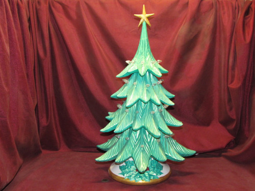 Large Ceramic Christmas Tree Lamp ~ Hand Painted Ceramic Bisque ~ Ready to Display