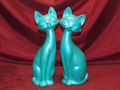 Modern Cats ~ Aqua (right & left) ~ Hand Painted Bisque ~ Ready to Display