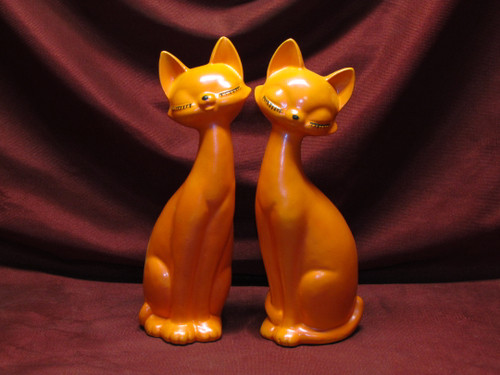 Modern Cats ~ Orange (right & left) ~ Hand Painted Bisque ~ Ready to Display