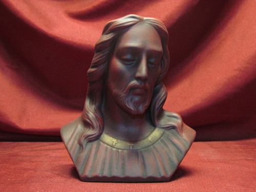 Jesus Christ Bust ~ Red ~ Hand Painted Ceramic Bisque ~ Ready to Display