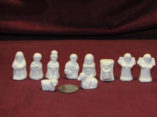 Ceramic Bisque U Paint Miniature Nativity Set of 10 ~  Ready to Paint