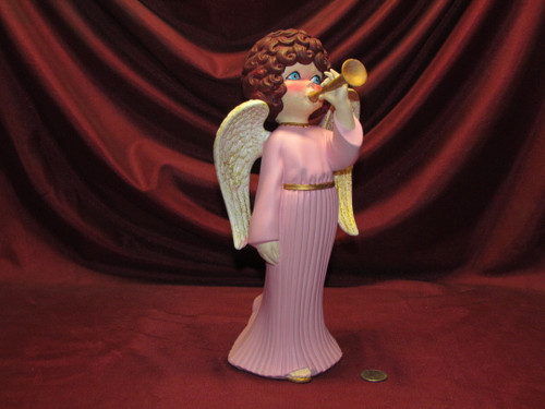 Angel Playing Horn ~ Pink & Gold ~ Hand Painted Bisque ~ Ready to Display
