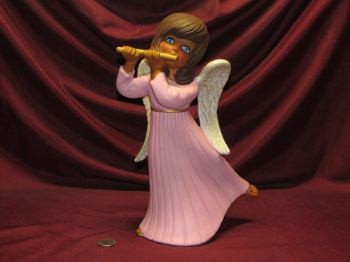 Angel Playing Flute ~ Pink & Gold ~ Hand Painted Bisque ~ Ready to Display
