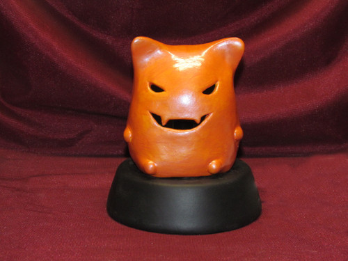 Halloween Kitty Pumpkin Lamp ~ Hand Painted Bisque ~ Ready to Display