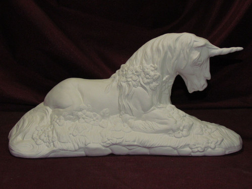 Ceramic Bisque Unicorn Lying In Flowers pyop unpainted ready to paint diy