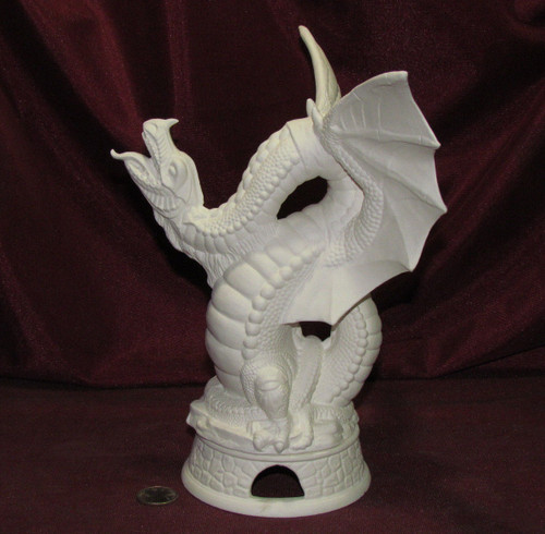 Dragon Smoker With Base - Ready To Paint Ceramic Bisque